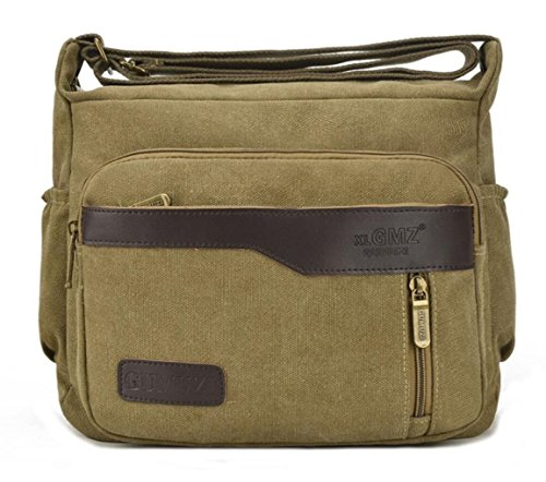 Lightweight Men Khaki Retro and for Pockets a Crossbody Bag Style Multiple Shoulder Women Canvas rOXq4r