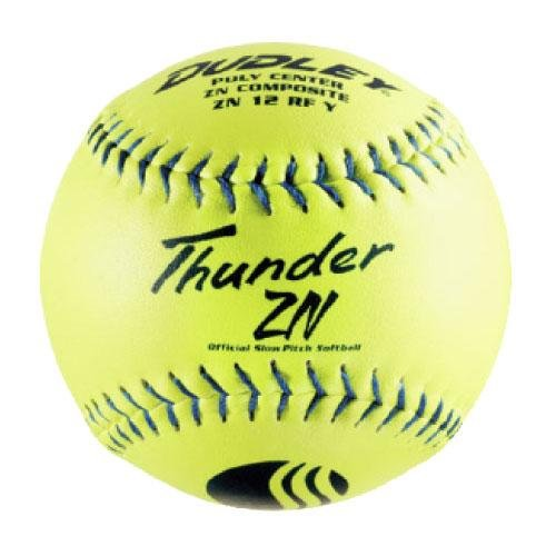Dudley Composite Softballs - Dudley USSSA Thunder ZN Slow Pitch Softball - .47 COR - Stadium Stamp - 12 pack