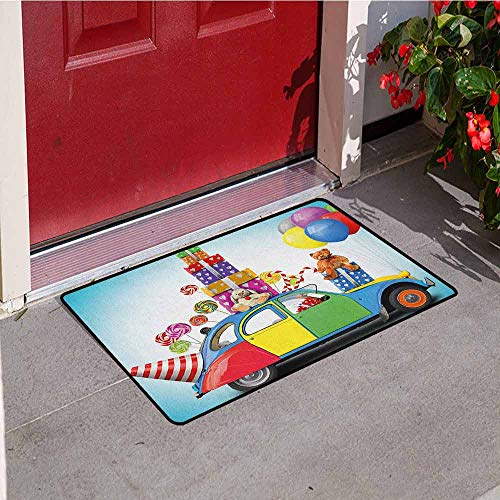 - GloriaJohnson Birthday Front Door mat Carpet Colorful Car with Presents Toys Holiday Lollipops Party Hat Balloons Celebration Machine Washable Door mat W29.5 x L39.4 Inch Multicolor