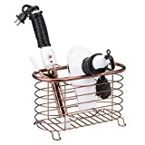 mDesign Metal Wire Hair Care & Styling Tool Organizer Holder Basket - Bathroom Vanity Countertop Storage Container for Hair Dryer, Flat Irons, Curling Wands, Hair Straighteners - Venetian Bronze