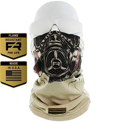 (Flame Resistant Face Mask Neck Gaiter, USA Made, 6.4 Cal, Lightweight, Soft FRC (Biohazard Face Gaiter (Beige))
