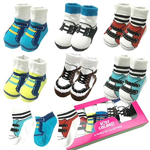 (6 Pairs 0-10 month Baby Newborn Ankle Sock Toddler Crew Walkers Bootie Infant Socks (Mixed style 2))