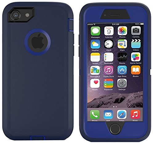 iPhone 7 Case, iPhone 8 Case, [HEAVY DUTY] Built-in Screen Protector Tough 4 in1 Rugged Shorkproof Cover [With Kickstand] for Apple iPhone 7 & iPhone 8 (Navy/blue)