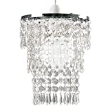 Beautiful Modern Chrome Chandelier Pendant Shade With Stunning Clear Acrylic Jewel Drople