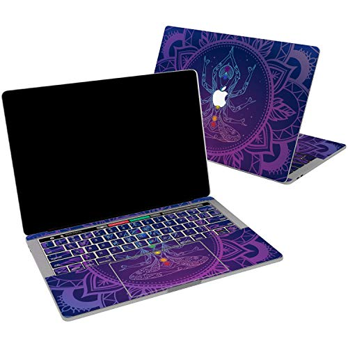 Lex Altern Vinyl Skin for MacBook Air 13 inch Mac Pro 15 Retina 12 11 2019 2018 2017 2016 2015 Bright Purple Bohemian Mandala Chakra Meditation Touch Bar Wrap Trackpad Cover Keyboard Decal Sticker ()