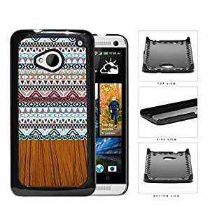 Aztec Artwork And Polished Wood Hard Plastic Snap On Cell Phone Case HTC One M7