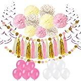 Pietypet Party Decorations, Paper Pom Poms Paper Tassel, Polka Dot Garland, Hanging Swirl Balloon Kit Baby Shower Wedding Birthday Celebration Table Wall Decoration - Pink