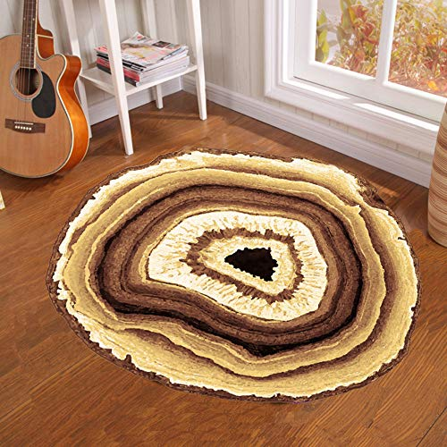 Round Carpet - Creative Tree Pier Print Round Carpet Mat Bedroom Bedside Living Room Coffee Table Hanging Basket Computer Chair Anti-Slip Mat, ()