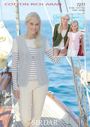 afb55f7d0c14 Sirdar Cotton Rich Aran Knitting Pattern - 7277 Cardigans   Waistcoat   Amazon.co.uk  Kitchen   Home