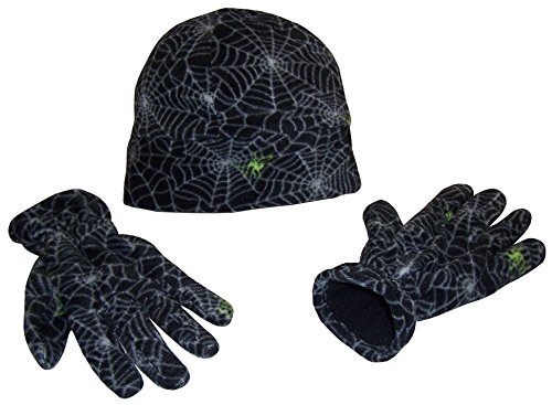 (N'Ice Caps Boys Neon Spider Print Double Layered Fleece Beanie and Glove Set (6-12 Years, Neon Spider)