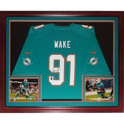 Cameron Cam Wake Autographed Miami Dolphins (Teal #91) Deluxe Framed Nike Jersey - Wake Holo