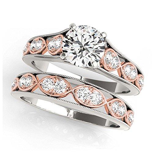 14K White Gold Unique Wedding Diamond Bridal Set Style MT50925