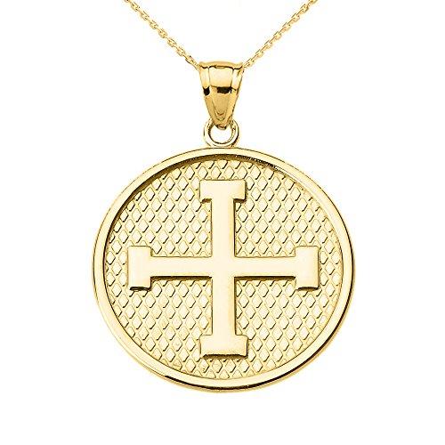 10k Yellow Gold Engravable Greek Cross Pendant Necklace