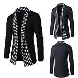 Realdo Men's Patchwork Cardigan Outwear Tops, Formal Casual Slim Long Sleeve Fold Coat(Black,Large)
