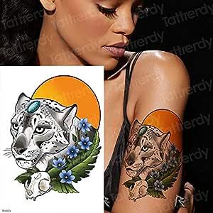 tzxdbh Tatuaje Tigre Temporal Pantera Negra Tatuaje de la Luna ...
