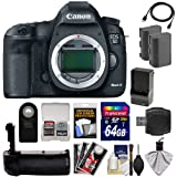 Canon EOS 5D Mark III Digital SLR Camera Body with 64GB Card + 2 Batteries & Charger + Grip + HDMI Cable + Kit