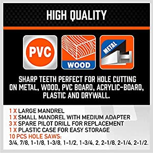 Bi-Metal Hole Saw Kit, HORUSDY 16-Piece General Purpose 3/4 to 2-1/2 Set with Case, Durable High Speed Steel (HSS), Ideal for Rapid Cutting of Metal, Wood, Plastic, Dry Wall. (Color: Orange, Tamaño: 3/4 to 2-1/2)