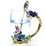 NBWUYUE Handmade Unique Rose Flower Glass Coffee Mugs - Best Reviews Guide