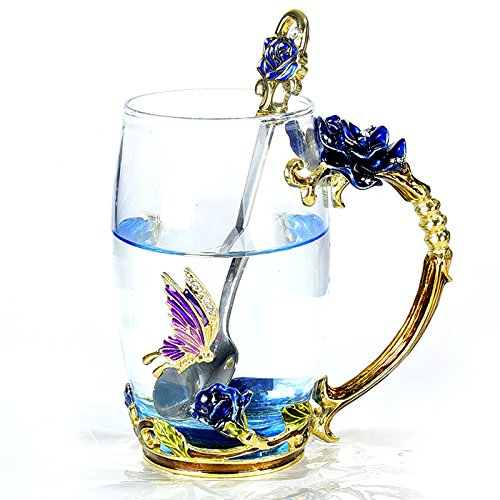 NBWUYUE Mother's Day Gifts For Mom Unique Rose Flower Glass Coffee Mugs Tea Cups Valentines Day Decorations Birthday 2018 New Wedding Gift Drinkware (Blue Tall) Blue Flower Cup