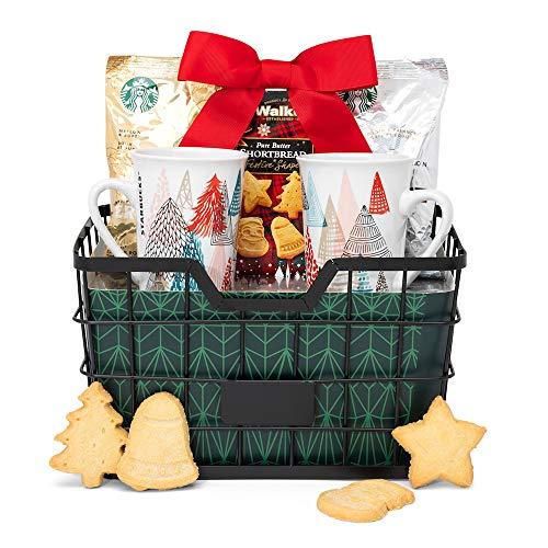 Starbucks Coffee and Holiday Cookies Gift Basket | Contains Starbucks Pike Place Coffee, Starbucks Veranda Coffee, Walkers Shortbread Cookies and Two Reusable Ceramic Starbucks Mugs