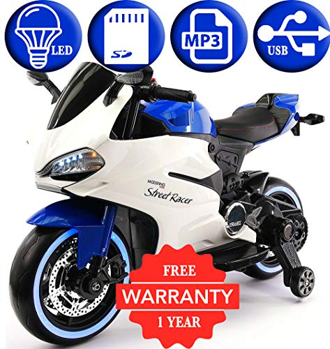 2018 Racing Style Kids Ride-On Motorcycle Toy for Kids | Leather | LED Body Kit | 12V Powered | 2 Wheels | Training Wheels | (Blue) ()