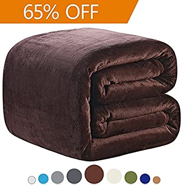 Polar Fleece Blankets Queen Size Brown for The Bed Extra Soft Brush Fabric Super Warm Sofa Blanket 90  x 90 (Chocolate Queen)