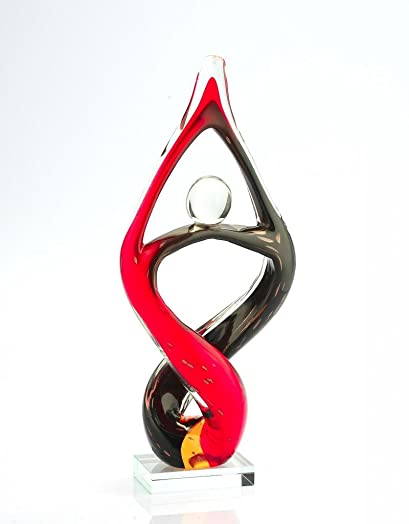 14 Large Hand Blown Glass Murano Art Style Fused Sculpture Abstract Red Black