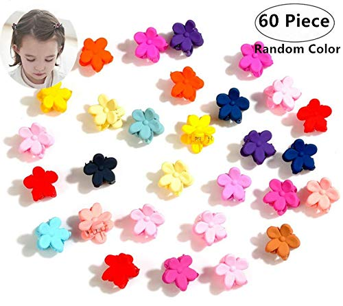 60 Piece Mini Flower Hair Pins, Magnoloran Hair Claw Clip Snap Hair Bows Clips Hairpin Barrettes for Toddlers Baby Girls Kids Children Women Hair Accessories