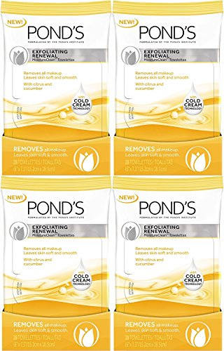 Pond's Moisture Clean Towelettes, Exfoliating Renewal, 28 Count (Pack of 4)