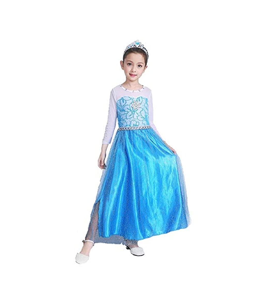 Amazon com peachi little girl snow queen frozen blue dress halloween kids costume 315 clothing
