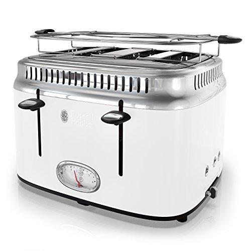 Russell Hobbs TR9250WTR Retro Style Toaster, 4-Slice, White