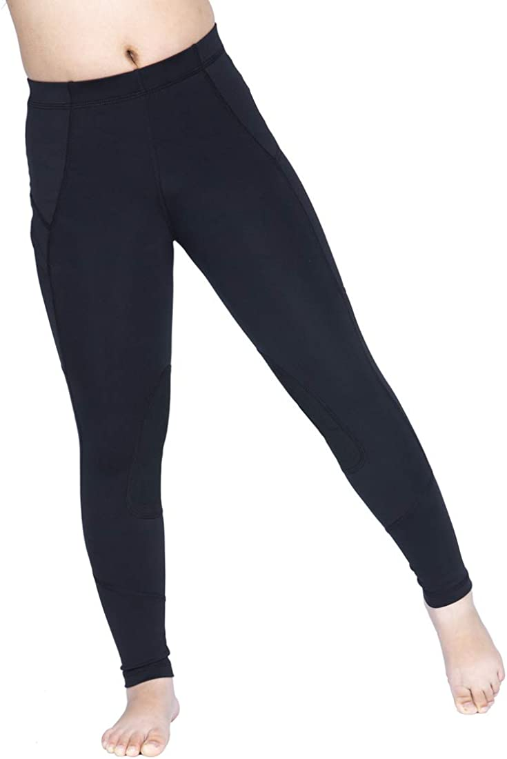 OKAY SPORTS Kids Perfomance Horse Riding Tights Knee Patch Equestrian Pants Breathable Schooling Riding Breeches with Pocket