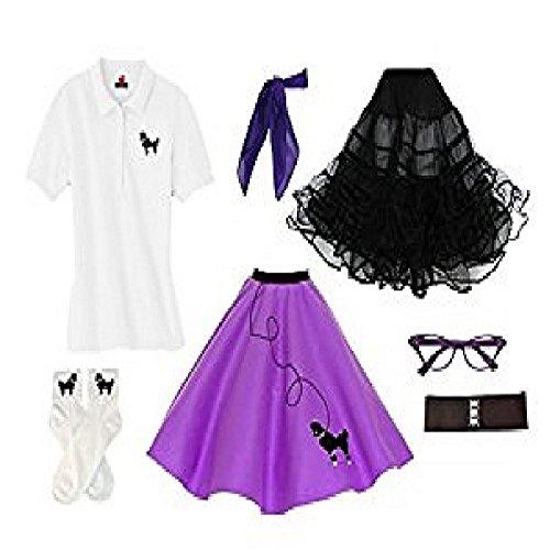 Hip Hop 50s Shop Adult 7 Piece Poodle Skirt Costume Set Purple Large]()