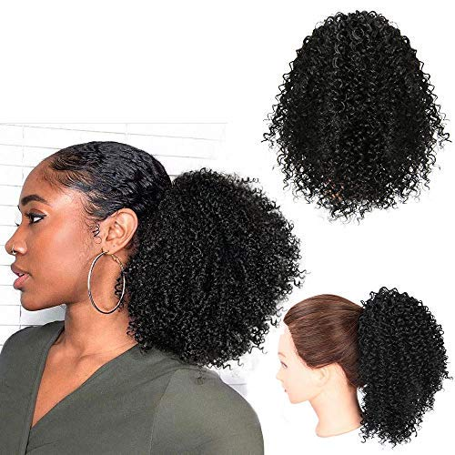 Vigorous Short Afro Curly Ponytail Hair Piece for African American Women Ponytail Extension Afro Drawstring Curly…