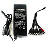 DC 12V 5A Power Supply Adapter +9 Split Power Cable for CCTV Security Camera DVR NVR Led UL Listed FCC