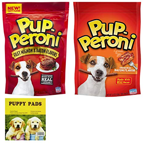 Pupperoni Soft Dog Treats Combo. Original and Filet Mignon Flavored Easy Treat Dog Snacks. Popular Tender Stick Snacks for Your Favorite Pet. Puppies Love Em! Also Includes a Dependable Puppy Pad.