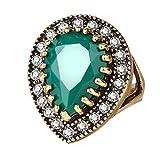 Wintefei Antique Teardrop Resin Shiny Rhinestone Inlaid Finger Ring Women Jewelry Gift - Green US 10