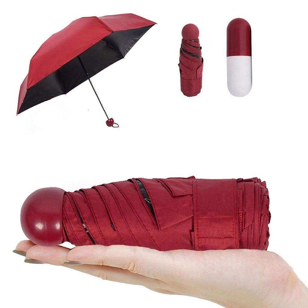 Ultra Light and Small Anti-UV Mini Foldable Travel Umbrella with Creative Cute Capsule Case, 5 Folding Compact Pocket Parasol Umbrella for Women Girls Children
