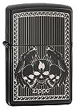 Zippo Slim Winged Skulls Lighter, Ebony