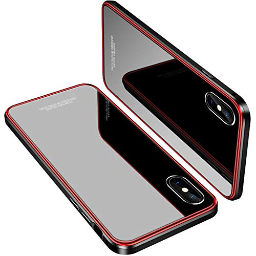 iPhone X Case, MOBYFL Slim Fit Tempered Glass Case with Shockproof Metal Bumper, Anti-Scratch Hard Cover Case for Apple iPhone X/iPhone 10 (Red+Black)