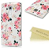 LG G4 Case - Mavis's Diary® [High Quality] Colorful Fashion Pattern Protective Soft TPU Case Clear Cover for LG G4 (2015) with Soft Clean Cloth (Lovely Pink Peony Flowers)