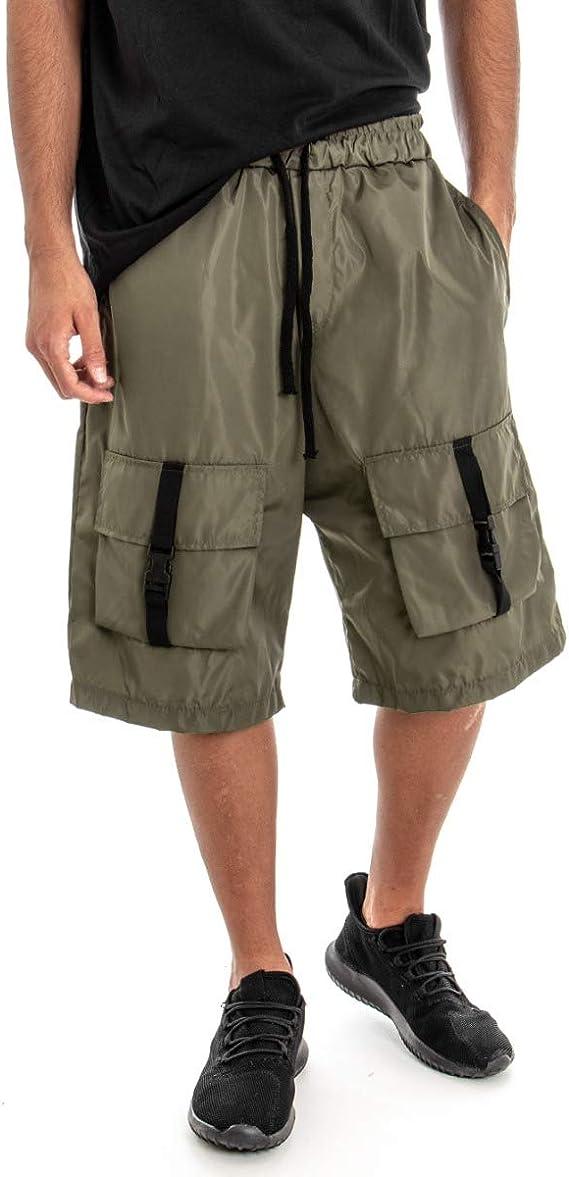 Giosal - Pantalón Corto para Hombre - Bermuda Verde - Chándal ...