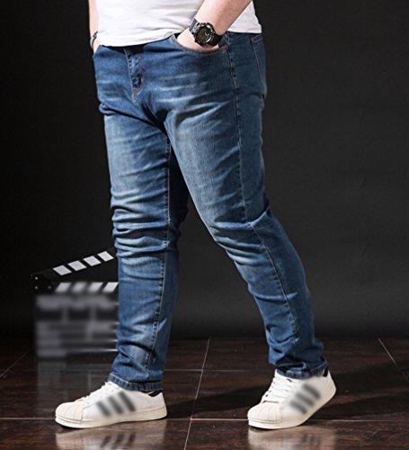 Grossa Heheja Pantaloni Taglia Tempo Denim Jeans Straight Blu Elasticità Libero Uomo q4qw1Y