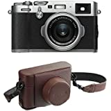 Fujifilm X100F 24.3 MP APS-C Digital Camera - Silver and Leather Case - Brown
