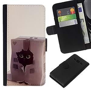 Planetar® Modelo colorido cuero carpeta tirón caso cubierta piel Holster Funda protección Para Samsung Galaxy A3 ( Gato divertido Corazón lindo del animal doméstico Negro Casa )