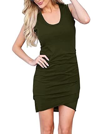 31a3d300cc22 Flowshey Women's Casual Sleeveless Ruched Cotton Bodycon Tulip Mini T Shirt  Dresses at Amazon Women's Clothing store: