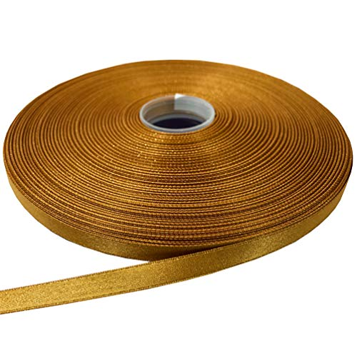 PartyMart 3/8 Inch Polyester Luxury Gold Purl Satin Glitter Ribbon, 100 Yard, 690 Old Gold