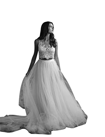 f380ce0009c66 LADY Women's Two Piece A Line Lace Applique Tulle Boho Beach Wedding Dress -