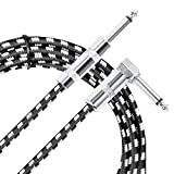 JSH Cables, Guitar Cable for Electric Guitar, Bass Guitar, Electric Mandolin, Pro Audio 1/4'' (6.3mm) Straight to Right Angle Male to Male Black White(10 ft)