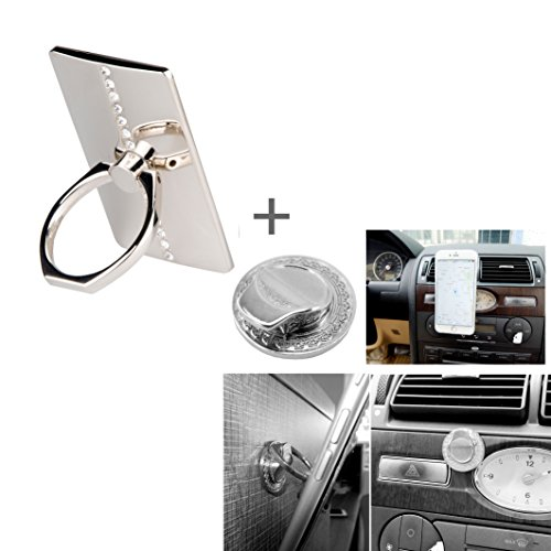 Ring Holder with Metal Hook Mount for All SmartPhone, Biaoge Universal Masstige Ring Grip/Stand Holder Metal Tag Bunker Ring for iPhone 4 4S 5 5G Galaxy S2 S3 SIII S4 iPad iPod HTC Nokia All Cell Phones (206-SI)